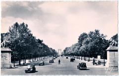 Paris - l'Entrée de l'Avenue des Champs-Elysées - les Chevaux de Marly in the 1940's (pepandtim) Tags: postcard old early nostalgia nostalgic paris champs elysées chevaux marly andre leconte france 48ple43 guillaume coustou horse tamers 1745