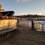 Shoreline access from Ballard Fred Meyer parking area. Sunset view of Ballard Bridge and Ship Canal. thumbnail