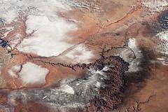 Grand Canyon with Snow (sjrankin) Tags: 11march2019 edited nasa iss iss058 iss058e1605 snow ussouthwest grandcanyon arizona coloradoriver winter grandcanyonnationalpark