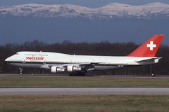 HB-IGC Geneva 17-3-1992 (Plane Buddy) Tags: hbigc boeing 747 swissair gva geneva
