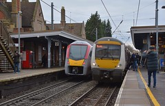 Stadler Unit 755 405 on a curtailed testing run passes 170 203 on the 11.47 Cambrisge to Ipswich Service at Sowmarket, just one of the units these new trains will be replacing this coming year. 01 02 2019 (pnb511) Tags: greateranglia trains railway greateasternmainline geml class755 track station platform class170 new old dmu demu