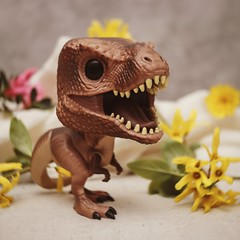 Funko Pop T. Rex (N.the.Kudzu) Tags: tabletop toy funkopop trex flowers cheese cloth canoneosm lensbabytrio28 lightroom photoscape