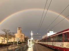 Regenbogen in Düsseldorf Heerdt (Haeppi) Tags: b80 strasenbahn tram tranvía streetcar düwag duewag nahverkehr öpnv rheinbahn düsseldorf rainbow regenbogen