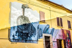 Mural Painting in Saludecio (oxnarddowntowners) Tags: 1800 1895 800 800festival emilia emiliaromagna europe italy lumiere lumierebrothers rimini romagna saludecio xix xixcentury cinema discovery film house illustration invention locomotive movie muralpainting murales murals ottocento painting town train wall