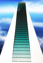 green-blue gradient stacked glass clouds effect (Aqua and Coral Imagery) Tags: museum art design glass stacked indoors sky clouds effect imagery greenblue bluegreen stairway stairs stairwell