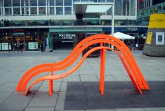 Curves and slides (zawtowers) Tags: jubilee greenway section 8 towerbridgetowestminsterbridge river thames path south bank central london saturday 19th january 2019 cloudy dry cold amble walk stroll exploring orange bench sculpture curves sit end slide down