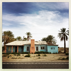 King Rich (Maureen Bond) Tags: ca maureenbond iphone house home abandoned blue palms dates roadtrip chimney fromtheroad king rich tagged