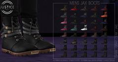 JSUTICE MENS JAX BOOTS ([:.UNDERGROUND & JUSTICE.:]) Tags: secondlife fashion avatar virtualworld 3d 2ndlife signature gianni geralt belleza jake slink