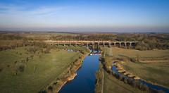 66730 on Dutton viaduct (robmcrorie) Tags: 66730 dagenham car train dutton viaduct river weaver phantom 4 garston liverpool