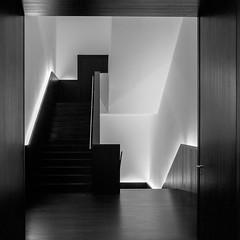 light and space 2 (ro_ha_becker) Tags: monochrome zwartwit schwarzweiss biancoenero blancetnoir blackandwhite blancoynegro architecture minimalarchitecture architektur abstractarchitecture stairs staircase treppenhaus minimalistic kunsthallebremen
