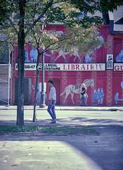 Librairie Guerin (Ian David Blüm) Tags: librairie guerrin montreal bookstore abandoned shuttered closed street art mural summer shade shadows mamiya 645 protl medium format 120 analog film kodak ektar