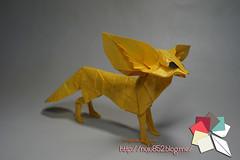 Fennec Fox (Rydos) Tags: origami art hanji koreanpaper korean origamist koreanorigamist paperfold fold folding paperfolding designed design model papermodel korea origamilst kyoheikatsuta handmadehanji hand made color gold yellow fennecfox fennec fox vixen
