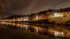 Iron Bridge Gorge (pboolkah) Tags: canon canon5d canon5dmkiv telford uk river night lights reflections reflection