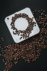 coffee beans on top of white cube scale in closeup photography - Credit to https://myfriendscoffee.com/ (John Beans) Tags: coffee coffeescale coffeebean acaia cafe coffeebeans shopbeans espresso coffeecup cup drink