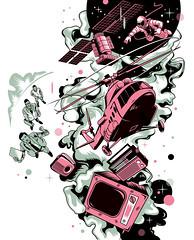 Illustration for «GQ Russia» (depingo.ru@gmail.com) Tags: russian space sputnik smoke pride start gq illustration illustrator