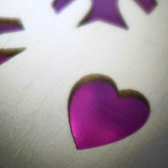 My Heart Is My Business...? (arcticbramble) Tags: macromondays holes 보라해 sydän heart violetti purple puu wood