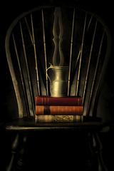 Contemplation (ROPhoto77) Tags: stilllife studiophotography studiolighting chair books pitcher antiques dark moody
