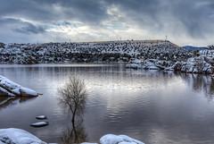 Watson Lake. Prescott, AZ. (j1985w) Tags: prescott arizona water lake rocks watsonlake snow trees sky clouds reflection