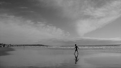 Boy & Clouds (Rand Luv'n Life) Tags: odc our daily challenge angular clouds boy mission beach san diego california ocean waves sky sand reflection vanishing point geometrical monochrome blackandwhite black white outdoor
