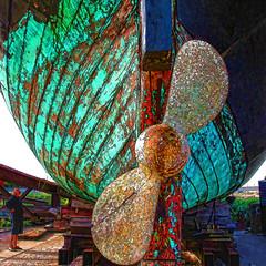 the big wooden ship (j.p.yef) Tags: peterfey jpyef yef dänemark denmark werft schiff holz shipyard propeller schiffsschraube square photomanipulation hank you miguelyn