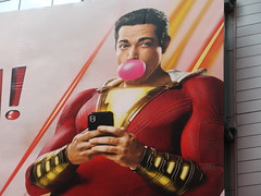 Shazam The Big Red Cheese Billboard 42nd St NYC 3752 (Brechtbug) Tags: shazam billboard 42nd street new captain marvel the big red cheese poster ad nyc 2019 times square movie billboards york city work working worker paint painting advertisement dc comic comics hero superhero alien dark knight bat adventure national periodicals publication book character near broadway shield s insignia blue forty second st fortysecond 03142019 lightning flight flying march