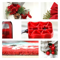Red and White (Kerri Lee Smith) Tags: redandwhite colors collage pedal toy bigwheelpedal figurine berries wreathe bows taillight van door mat doormat winter