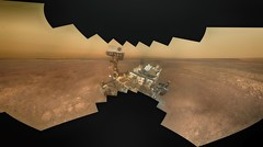 Curiosity on a Hazy Day 1, variant (sjrankin) Tags: 17january2019 edited panorama nasa mars msl curiosity galecrater selfie selfportrait dust haze sky mountains sand rocks 1205mb large