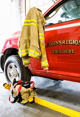 Ready to Go (Karen_Chappell) Tags: stjohns red yellow truck firestation coat boots vehicle transportation canada newfoundland nfld firedepartment city canonef24105mmf4lisusm