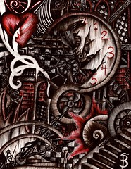 Fate in Chaos (Skyler Brown Art) Tags: angst architecture art artwork blackred broken charcoal clock creepy dark darkness drawing emotional fear gears goth gothic heart heartbreak love nightmare ominous paper pen red sad serious sleep steampunk surreal surrealism time