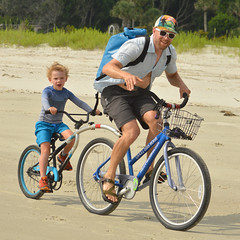 Riding with dad (radargeek) Tags: hiltonheadisland sc southcarolina beach june 2018 bicycle kids child kid children sunglasses father son boy