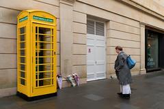 Defibrillator - Bath (stevedexteruk) Tags: bath bathspa telephone box kiosk yellow defibrillator 2019 uk flowers mannequin shop