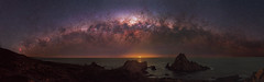 Milky Way Setting Over the Indian Ocean at Sugarloaf Rock, Western Australia (inefekt69) Tags: milky way cosmos cosmology sugarloaf rock dunsborough moon ocean southern hemisphere westernaustralia australia dslr long exposure rural 50mm d5500 night photography nikon stars astronomy space galaxy landscape astrophotography outdoor milkyway core great rift ms ice panorama ioptron skytracker hoya red intensifier filter explore explored