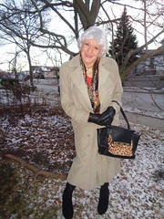 What A Sorry Excuse For Winter! (Laurette Victoria) Tags: wisconsin winter milwaukee woman laurette coat silver gloves booties