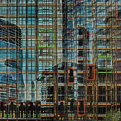 colorful framework (heinzkren) Tags: london gb uk building gebäude leadenhall elevator lift facade fassade fenster reflection spiegelung architectur architektur lines linien color farbe geometry symmetry abstract urban contemporary modern city panasonic lumix texture pattern outside new windows