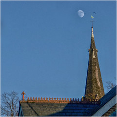 017.3 Heavenly bodies (Dominic@Caterham) Tags: house roof church steeple spire sky sunlight tree winter