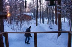 Early morning chores ((nature_photonutt) Sue) Tags: shovellingsnow clearingareatofeeddeer ouryard ironbridgeontariocanada 15000views