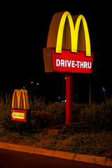 McDonald's drive-thru (ezeiza) Tags: california ca prunedale mcdonalds goldenarches golden arches fastfood fast food restaurant sign drivethrough drivethru drive through thru night