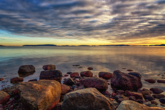 Transitions (Kurt Evensen) Tags: calm nature reflection rockyshore weather vestfold clouds norway shore sea tønsberg sky seascape sunset water winter transisions