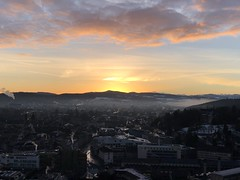 Wake up Winti (Sibeal's world) Tags: winter landscape twilight smoke cloudsstormssunrisessunsets morning citylights city horizon skyline mountains alpstä alpstein subrise wintower sulzer winterthur csss