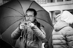 Paparazzi (Cycling-Road-Hog) Tags: blackwhite candid canoneos750d citylife colour efs55250mmf456isstm edinburgh edinburghstreetphotography man mobile monochrome people phone places royalmile scotland street streetphotography streetportrait style umbrella urban