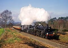 Rifle Range, Severn Valley Railway, March 2002 (David Rostance) Tags: 75014 brstandard 34027 34045 westcountryclass bulleidpacific svr bewdley kidderminster severnvalleyrailway 75009 worcestershire