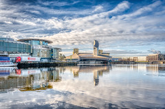 Salford Quays (Kev Walker ¦ 9 Million Views..Thank You) Tags: architecture city england manchester manchestershipcanal mediacity promenade river salfordquays ship sky water waterfront blue bridge britain british broadcasting buildings canal cityscape commercial contemporary design dock dusk europe exterior footbridge landmark lowry media metropolitan millennium modern night quay quays quayside radio reflection riverside salford shipcanal skyline studios travel tv twilight uk urban