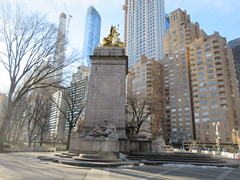 2019 USS Maine Monument Columbus Circle NYC 2306 (Brechtbug) Tags: uss maine monument 1913 beaux arts commemorate controversial sinking battleship 1898 the ship has sculpted representations mythological figures victory peace courage fortitude justice central park entrance nyc 02192019 new york city arms wrapping around rock statue sculpture february 2019 columbus circle
