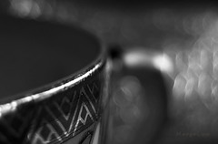A Cup Of Tea ... (MargoLuc) Tags: macromondays theme brew cup tea painted gold monochrome bokeh bw natural light window