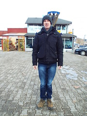 Feeling the chill.... A cold day in Kostajnica Bosnia (sean and nina) Tags: ice fros cold freeze freezing kostajnica bosna bosnia bih republika srpska serb winter january 2019 border town bosnian municipality sean man male husband black coat hat blue jeans pose posed posing standing street candid public outside outdoor people person