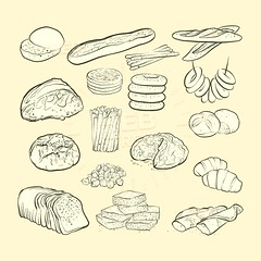 breads and bakery icons (Hebstreits) Tags: background baguette bake baker bakery bread breakfast cake collection cook croissant cupcake design donut drawing element emblem flour food grain graphic icon icons illustration isolated kitchen line loaf logo meal muffin outline pastry pictogram pie pin pretzel roll rolling set shop sign silhouette slice symbol toast vector web wheat