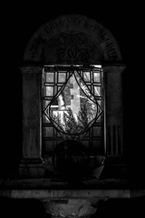 The light you were looking for was beyond your little world... (Shadows Of The Sun) Tags: canon photographer photography monochrome bw byn blackandwhite blancoynegro graveyards graveyard grave broken window light lostplaces hiddenplaces cemetery cementerio rusted shadowsofthesunphotography