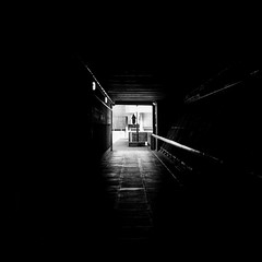 To A Brighter Place (Sean Batten) Tags: london england uk europe streetphotography street southbank blackandwhite bw light shadow tunnel fuji fujifilm x100f city urban person