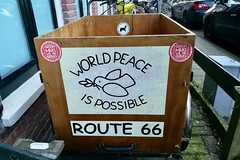 World Peace Is Possible (Michiel2005) Tags: bakfiets transportbike bicyle fiets rijwiel worldpeaceispossible haarlem nederland netherlands holland