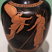 Athenian Red Figure oinochoe with Nike crowning a victorious youth: detail
